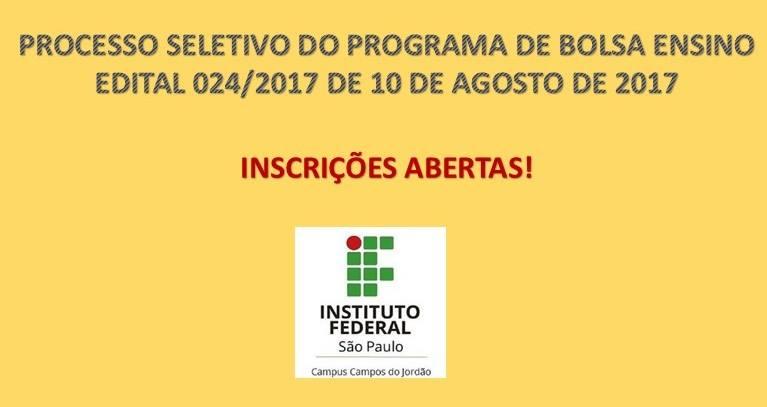 Inscrições prorrogadas até 17/08 -Processo Seletivo de Bolsa Ensino