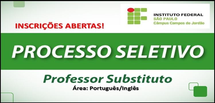 ABERTURA DE INSCRIÇÕES DO PROCESSO SELETIVO SIMPLIFICADO PARA PROFESSOR SUBSTITUTO